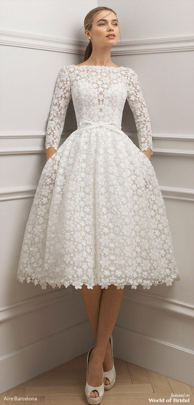 Aire Barcelona 2019 Wedding Dresses World Of Bridal Short Wedding Dress Bridal Dresses Lace Short Lace Wedding Dress [ 1400 x 670 Pixel ]