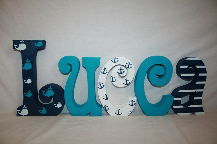 Whale themed nursery decor Nautical wood letters Custom name letters Wood nautical decor Blue and white nautical decor Anchor nursery decor by WoodenWondersShop on Etsy https://www.etsy.com/listing/249123629/whale-themed-nursery-decor-nautical-wood