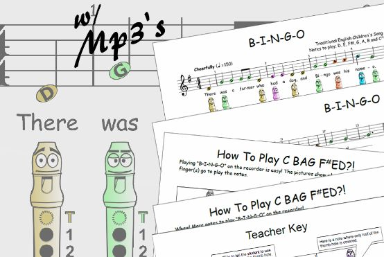 BINGO + Recorder Sheet Music #schoolrecorder #recordersongseasy  https://www.teacherspayteachers.com/Product/Easy-Recorder-BINGO-1173438