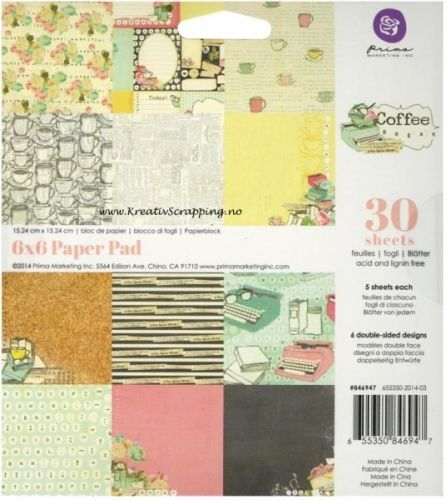 PRIMA MARKETING - COFFEE BREAK - PAPER PAD 6x6Papirblokk fra PRIMA MARKETING. Inneholder 30 ark, fem av hvert ark. Prima Marketing-Coffee Break Paper Pad. The perfect addition to you journals, scrapbooks and other paper crafting projects! This package contains thirty 6x6 inch double-sided sheets in six different designs (five sheets of each design).