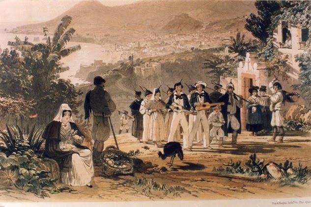 Band playing in the street, Funchal, ca. 1840