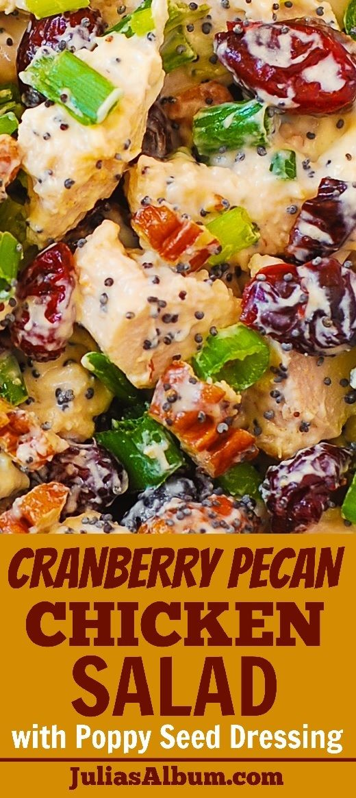 Cranberry Pecan Chicken Salad with Poppy Seed Dressing - also great for leftover Thanksgiving turkey meat! gluten free Thanksgiving recipe.