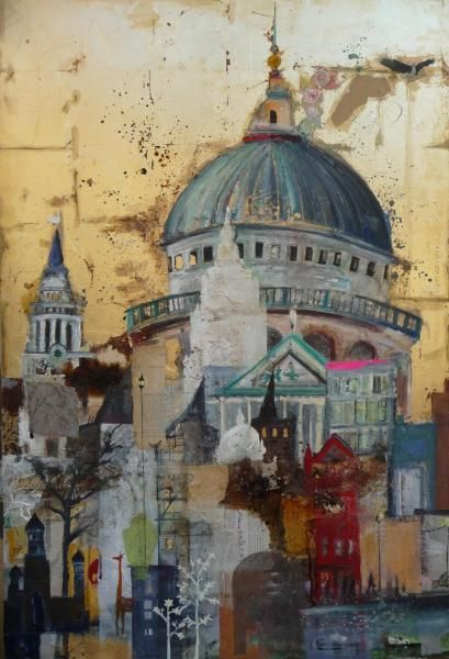 London Layers by Emmie van Biervliet - Mixed media on board 32 x 49ins