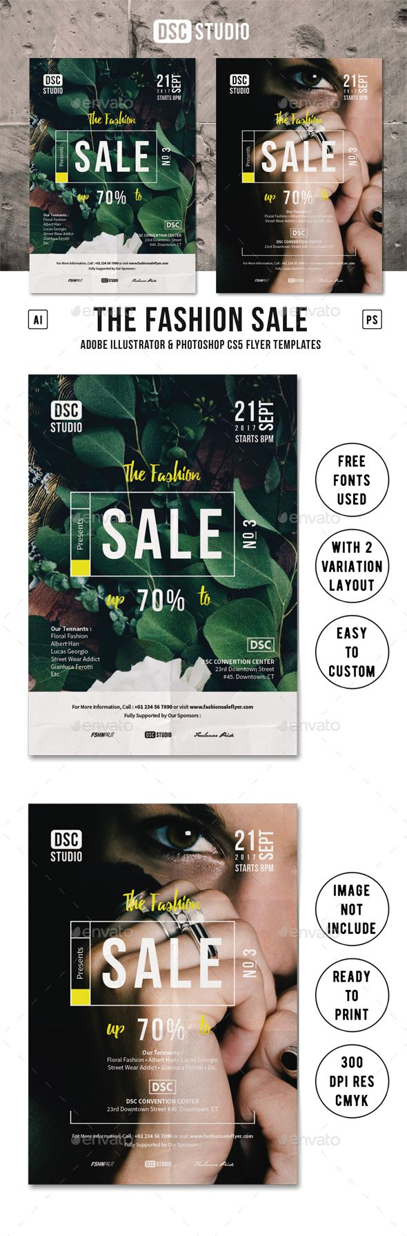 Fashion Sale Flyer Template PSD, AI Illustrator. Download here: https://graphicriver.net/item/fashion-sale-flyer/17410315?ref=ksioks