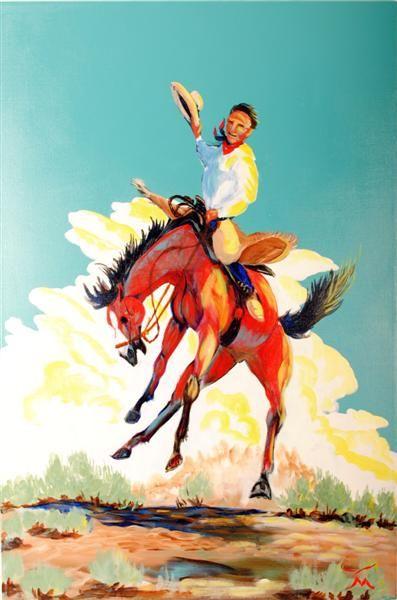 Bucking Bronco Original Western Painting By Nevada Artist Dan Howard Size Measures X
