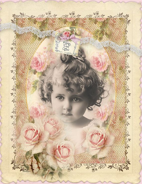 Digital collage sheet vintage Dreams 87 instant by whimsydust, $4.45
