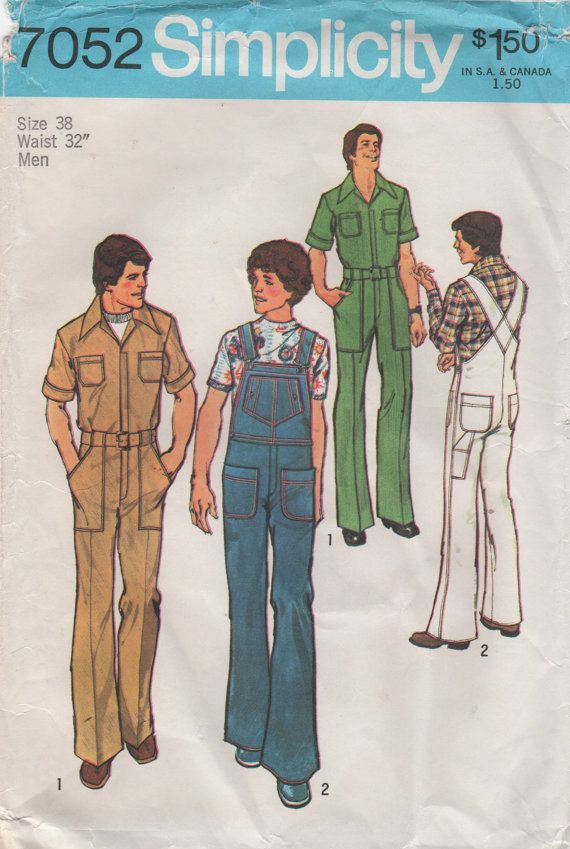 Simplicity 7052 1970s Mens Bib Overalls Jumpsuit Coveralls vintage sewing pattern by mbchills,