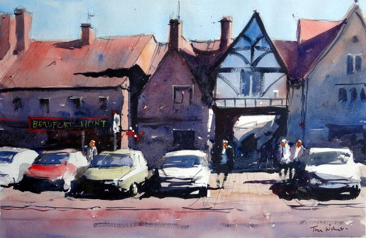 Watercolor of the Beaufort Hunt Pub in the town of Chipping Sodbury UK #watercolour