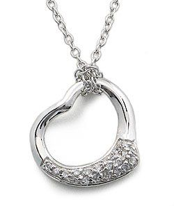 CUBIC ZIRCONIA NECKLACES - Sterling Silver Open Heart Pave CZ Necklace CostumeFashionJewelry. $48.50