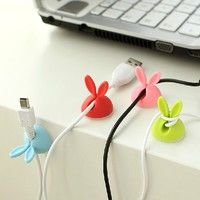 Geek | 4 Pcs Rabbit Cable Drop Clip Desk Tidy Organiser Wire Cord USB Charger Holder Healthyandfit