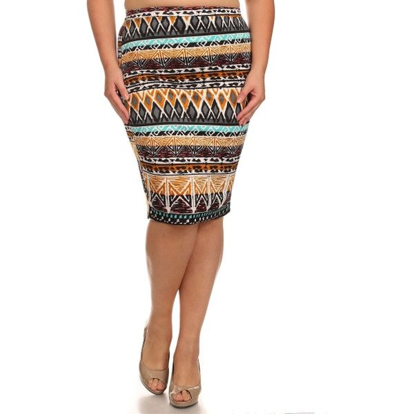 Women's Plus Size Aztec Print Skirt (Brown-2XLARGE) ($27) ❤ liked on Polyvore featuring skirts, brown, plus size, high-waisted skirts, plus size high waisted skirt, midi skirt, white midi skirt and white skirt