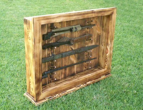 hunting knife knife display knife display case wwii knife display ww2 knife display bayonet display bayonet case