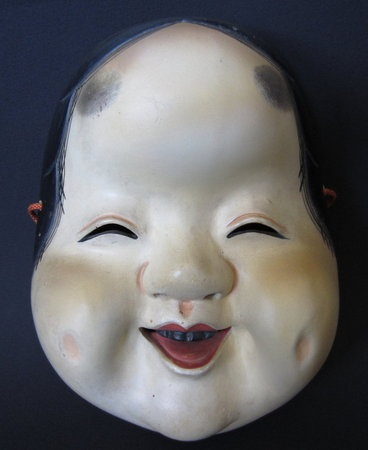 Japanese Antique Okame Noh Mask.