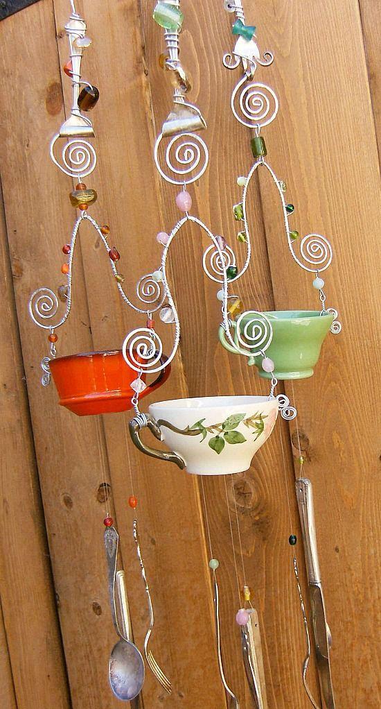DIY tea cup  & silverware wind chime