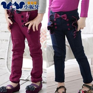 2013 autumn korean version of the new childrens clothing baby girls flouncing bow clasp long pants / boots pants 5154 only $7.71USD a Piece