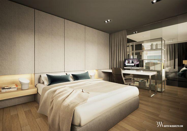 Apartament na osiedlu WIlno. Aranżacja sypialni z tapicerowaną zabudową…