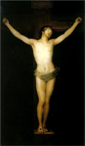Crucified Christ  by ~ Francisco de Goya y Lucientes of Spain (1746-1828):  Romantic painter/ printmaker regarded both as Last of Old Masters  First of Moderns. Wikipedia