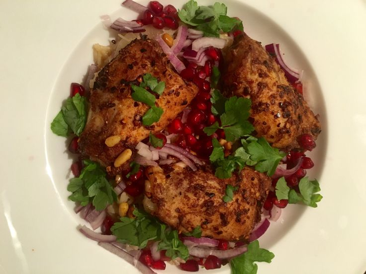 Spice-crusted chicken and pomegranate salad   everyday food