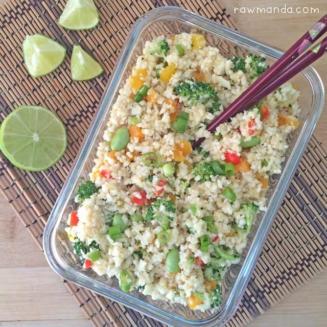 """Raw cauliflower """"fried"""" rice is the perfect recipe for any lifestyle. Cauliflower is a great low-carb alternative to rice and can be eaten raw or cooked."""