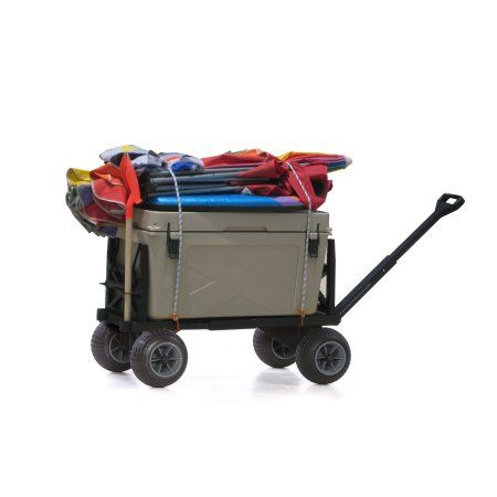 Plus One Beach Cart Pull Wagon All Terrain Dolly Kart Trolley Flatbed Wagons and Carts for Sand with 4 Rolling Wheels to Haul Equipment Gear Cooler Umbrella Chair Gift Idea for Him Her Dad Mom Seniors, Black