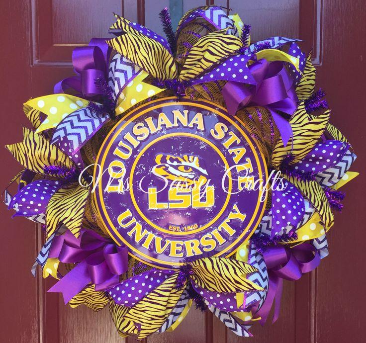 LSU - LSU Wreath - Louisiana State University - LSU Tigers - Louisiana State University Wreath - Louisiana State University Decor by MsSassyCrafts on Etsy https://www.etsy.com/listing/241443158/lsu-lsu-wreath-louisiana-state
