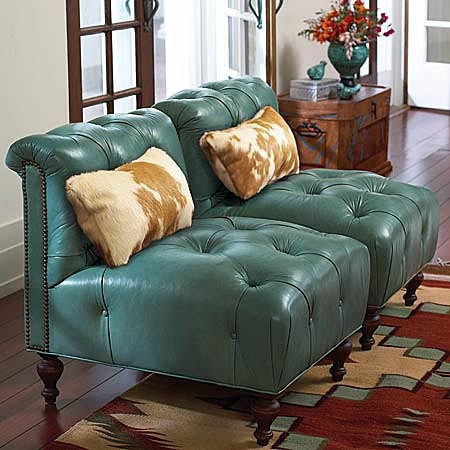 Turquoise Leather Chairs