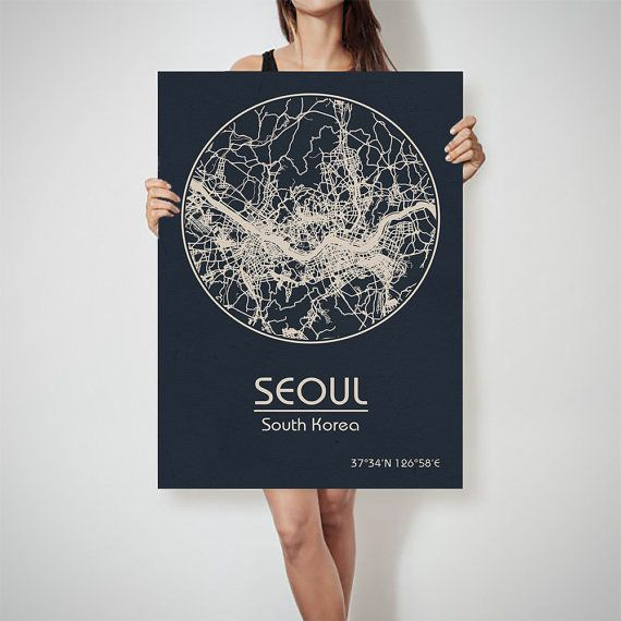 SEOUL South Korea map Asia City Street Map Art Print by ArchTravel