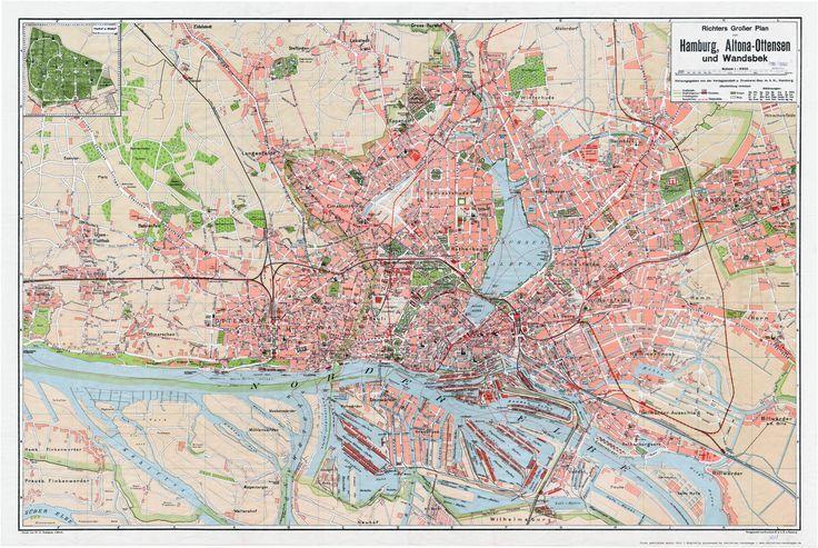 Karte Hamburg 1911 Richters Grosser Plan Von Hamburg Altona