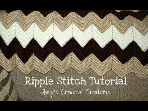 Crochet Ripple Stitch Afghan Tutorial Ripple Stitch Pattern: http://www.amyscrochetpatterns.com/2016/11/crochet-ripple-afghan-with-video.html Please leave a ...