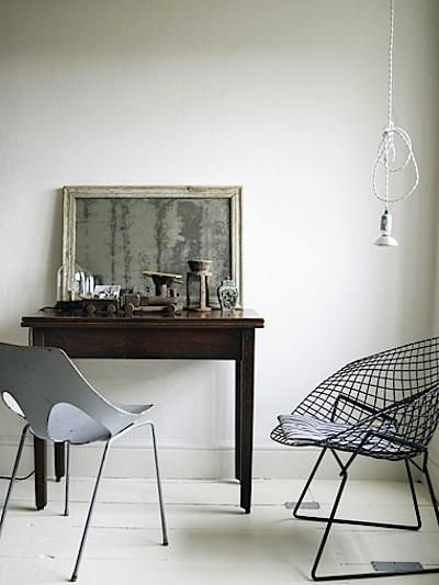 @Kelley Copeland Chairs definitely ~ Love the mottled mirror and cool light as well!