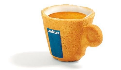 """The edible cup! The Cookie Cup was designed by Venezuelan designer Enrique Luis Sardi for the Italian coffee company Lavazza. This incredible edible cup brings ecofriendly """"recycling"""" to another level with it's tasty design. A green solution and innovative way to drink your coffee and eat the cup, thus no cup to wash or another nonbiodegradeable cup for the landfill. The Cookie Cup is made of pastry covered with a special icing sugar, which works as an insulator, and makes the cup waterproof"""
