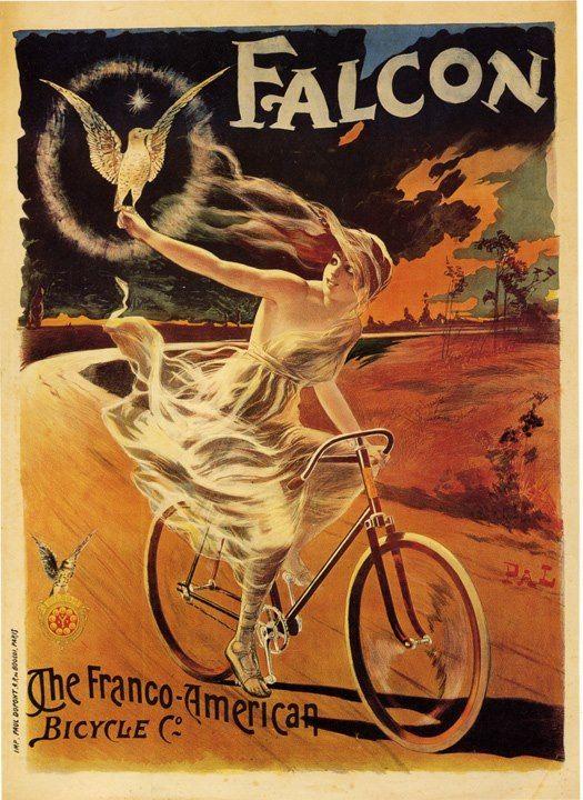 Franco american falcon bicycle bird woman riding bike sport vintage poster repro