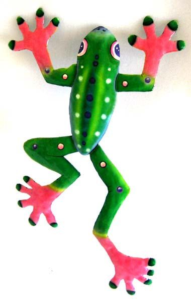 "Hand Painted Frog Wall Hanging, 20"" Painted Recycled Metal Tropical Garden Art Design, Handcrafted Metal Art -Metal Wall Decor  F-2002-GR-PK by TropicAccents on Etsy"