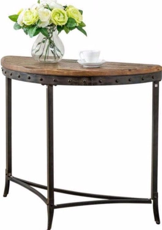 Transitional Console Table Half-Moon Distressed Pine Finish Top Home Furniture #consoletable