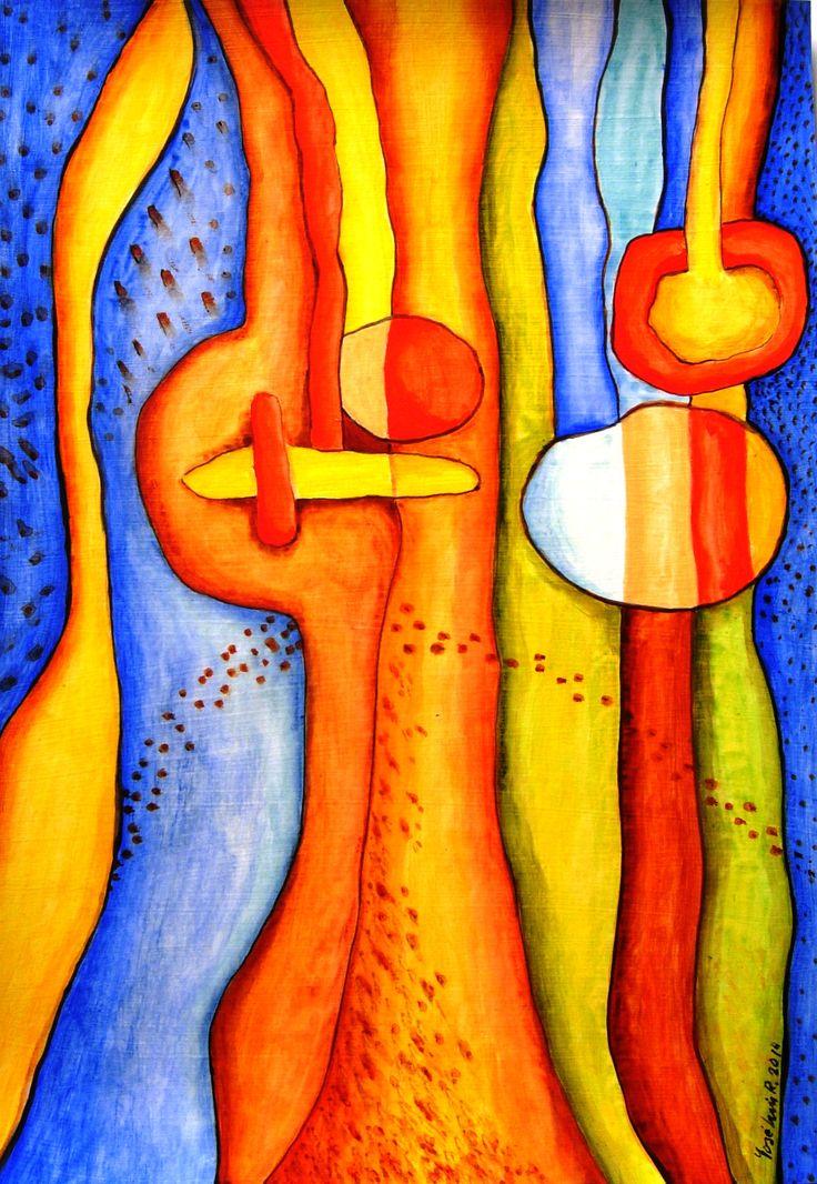 """Vitral, """"Ensoñación IV"""", acrílico sobre papel, 29,7 x 42 cm."""