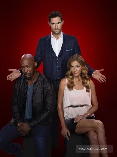 Lucifer - Promo shot of Tricia Helfer, Tom Ellis & D.B. Woodside