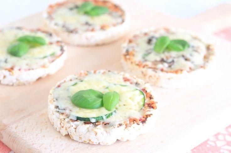 gebakken rijstwafelpizza's - Chickslovefood.com