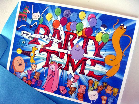 """Adventure Time """"Party Time"""" Birthday / Party Invitations (fill-in-the-blank)"""