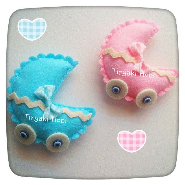 ♥ Tiryaki Hobi ♥: Keçe bebek şekeri / doğumgünü magneti - Puset