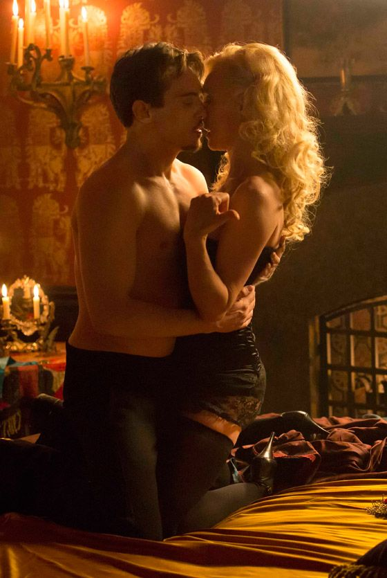 Jonathan Rhys Meyers (Grayson) and Victoria Smurfit (Lady Jane Wetherby) getting naughty in the bedroom in episode 2 of Dracula - sky.com/dracula