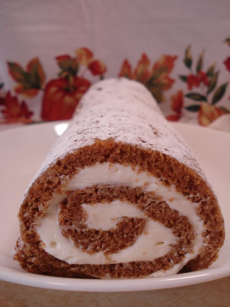 LIBBY's Pumpkin Roll with whipped cream cheese frosting.