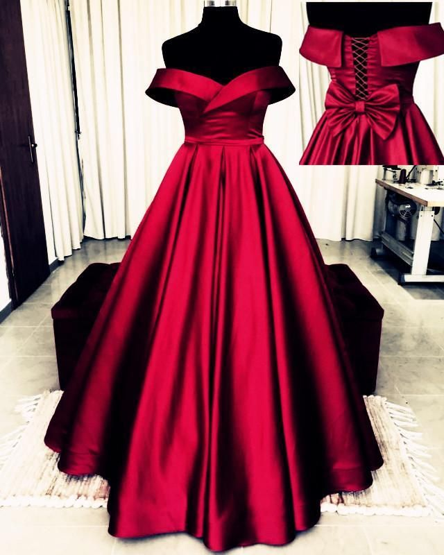 Prom Dress with Sleeves and Bow On Back