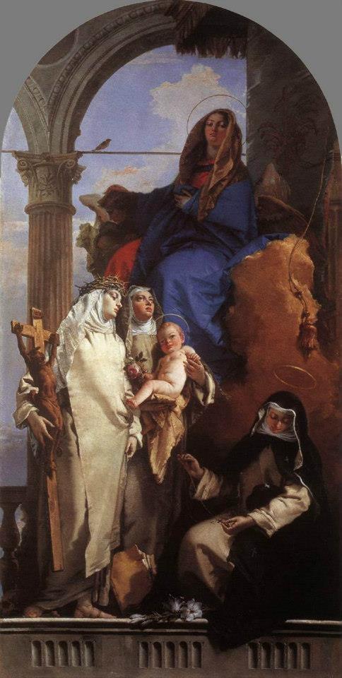 Giovanni Battista Tiepolo - The Virgin Appearing to Dominican Saints, in the left St. Catherine of Siena, Santa Maria del Rosario a Venezia (1740)