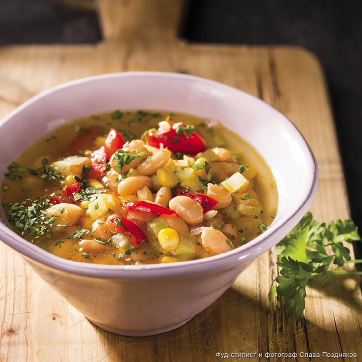 Фасолевый суп с перцем и кукурузой - Пошаговые рецепты, фото, видео на сайте Bonduelle.ru