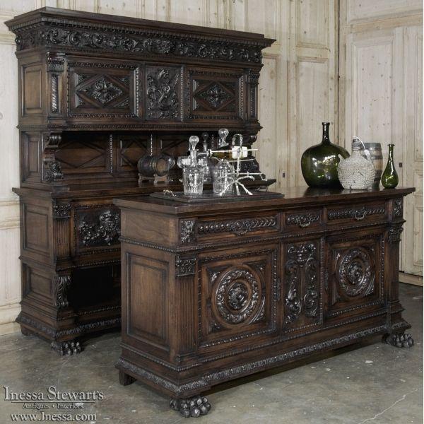Antique Furniture  | Renaissance/Gothic Buffets | 19th Century Italian Renaissance Walnut Bar | www.inessa.com