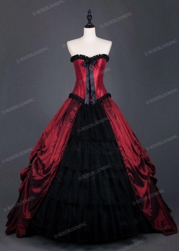 Red Black Gothic Long Prom Dress D1008 D Roseblooming Black Wedding Dresses Red Wedding Dresses Gothic Wedding Dress