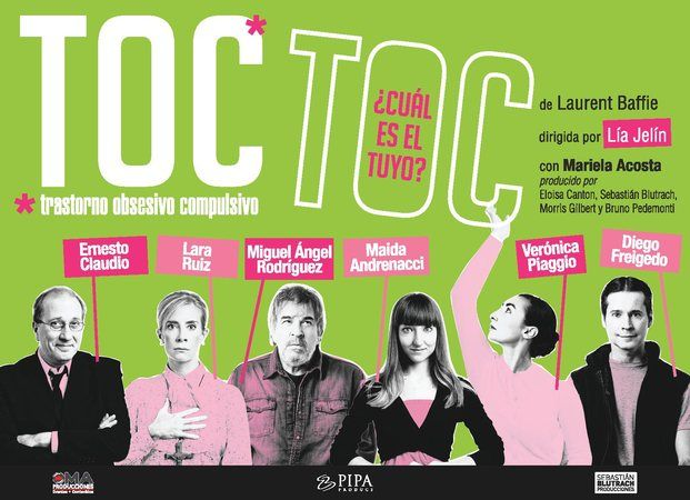 TOC TOC - Teatro La comedia más obsesiva y divertida de todas. Del autor francés Laurent Baffie vuelve el suceso teatral del 2011. Seis personajes que padecen trasto... http://sientemendoza.com/events/toc-toc-teatro/
