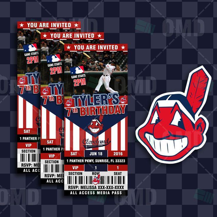 Cleveland Indians Sports Party Invitations #baseball #invites #clevelandindians #babyshower #savethedate