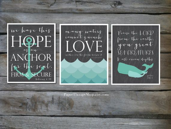 3 Nautical Prints based on Bible verses Water by PaperTherapyShop
