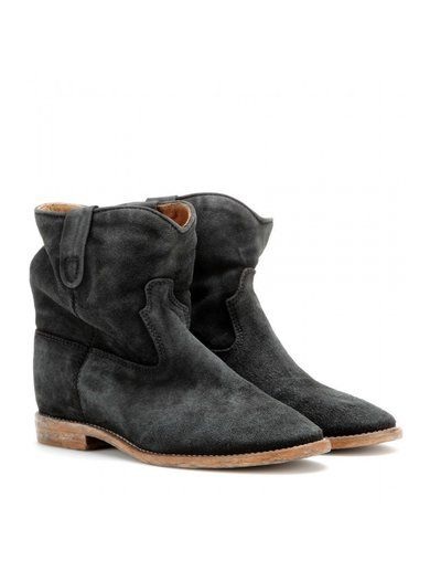 'Crisi concealed wedge faded black suede ankle boots By Isabel Marant'